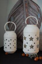 VLHome Laterne Windlicht Metall Weiß Sterne groß Weihnachten Advent Shabby Deko