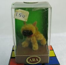 Fuzzy Vintage ARA Austria Hand Made Wool Puppy Light Brown Black Dog MIB.
