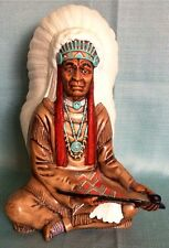 """VINTAGE BYRON MOLDS INDIAN CHIEF NATIVE AMERICAN PEACE PIPE CERAMIC STATUE~12.5"""""""