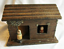 Vintage rustic wooden Christmas putz house / cabin w clothespin style people