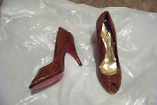 womens unlisted stylish brown patent open toe skin print heels shoes size 8