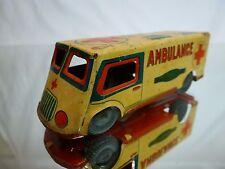 TIN TOY BLECH FRICTION - JAPAN - AMBULANCE VAN TRUCK - OFF-WHITE L9.5cm - NICE