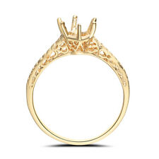 Round 5.25mm to 6.25mm Semi Mount Wedding Ring Solid 10K Yellow Gold Jewelry Hot
