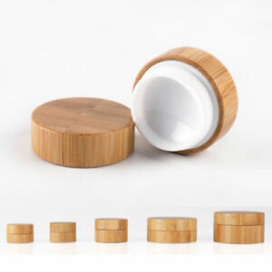 5-50g Natural bamboo Jars Cosmetic Makeup Vial Face Cream Lip Balm Containers UK