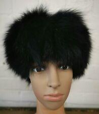 black real genuine fox fur pelt head ear warmer unisex hat winter ski headband