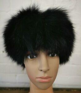 black real genuine Chinese fox fur pelt head ear warmer hat winter ski headband