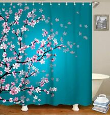 """Floral Cherry Blossom Bath Shower Curtain For Bathroom With Hooks 71""""×71"""" Green"""