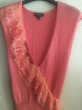 bebe SALMON Pink NYLON SWEATER LACE BEADS SEQUINS Sweater Sleeveless Sz: S