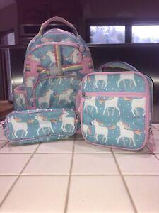 Pottery Barn Mackenzie Aqua Unicorn Parade Backpack