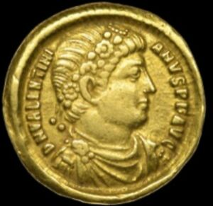 VALENS, gold roman solidus coin of Antioch