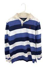 Polo Ralph Lauren CUSTOM FIT Rugby Shirt Striped Blue White Men's Medium