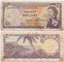East Caribbean, St.Lucia, 20 Dollars 1965, F+/VF-, P-15L, QEII, pinholes