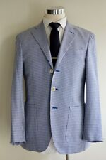 $2030 Caruso Sport Coat Silk Wool Linen 38R/48R Blue Houndstooth Half Lined