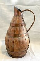 Antique/Vintage Primitive French Riveted Copper and Staved Oak Wood Pitcher/Ewer