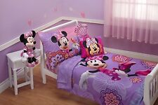 Toddler Bedding Set 4 Piece Lavender Minnie Mouse Disney Flutter Friends Spring