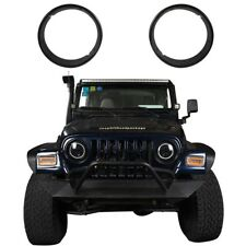 2Pcs Durable ABS Round Headlight Trim Cover Ring for Jeep Wrangler 97-06 TJ