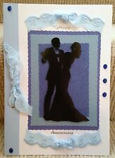 Luxury Handmade Personalised Large A4 ANNIVERSARY CARD Romantic Silhouette Dance