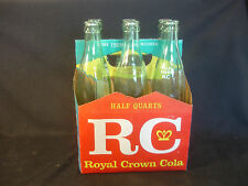 Old Vtg RC Royal Crown Cola Six 16 Oz Clear Soda Pop Bottles W/Original Case