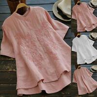 Plus Szie Women Casual Loose Linen Button Short Sleeve T Shirt Blouse Tunic Tops