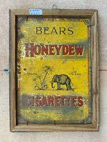 Antique Old Rare Hand Crafted Bears Honeydrew Cigarettes Tin Sign Board