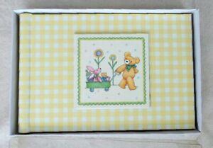 Baby PHOTO ALBUM 4x6 Brag Book Gingham Yellow Check Bear Bunny Toy Blocks New