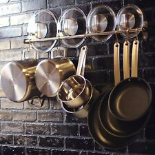 Stainless Steel Gourmet Kitchen 23.25 Inch Wall Rail Pot Pan Utensil Lid Rack