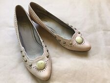 New European Bata Studded Leather Kitten Heel Size EU 36, US 5.5 - 6