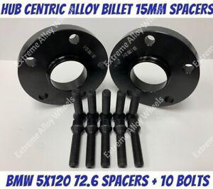 Black Alloy Wheel Spacers 15mm Bmw F10 F11 F12 F13 M14X1.25 Bolts 5x120 72-6