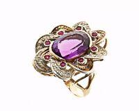 Anello stile antico oro 14 kt 500 e argento 925 mill. ametista diamanti rubini