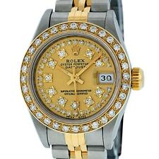 Rolex Womens Datejust 26mm SS & 18K Yellow Gold Champagne String Diamond Dial