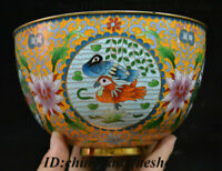 """7"""" Antique Old Chinese Bronze Cloisonne Enamel Flower Duck Bowl Cup Plate Teacup"""