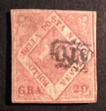 #678 Philatrade postal stamp SC #A6d Italia NAPOLI Naples 1858 single 20Gr used
