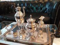 Rare Service à thé/café Christofle Empire Malmaison en Métal Argenté et Ebène