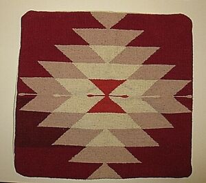 """NATIVE AMERICAN NAVAJO RED PINK WOOL RUG BLANKET 19"""" SQUARE PILLOW COVER SHAM"""
