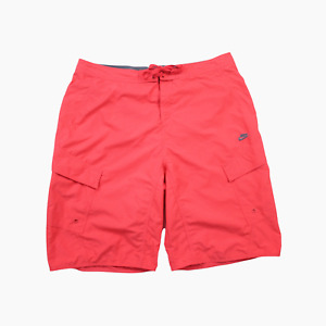 Nike Y2K Mens Lightweight Graphic Board Swim Cargo Shorts Waist 36 Vivid Red