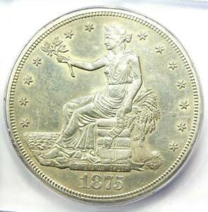 1875-S Trade Silver Dollar T$1 - Certified ICG AU55 Details - Rare Coin!