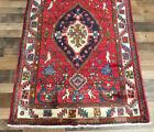 "3'9""x13' Plush Antique Authentic Pictorial Handmade Tribal Oriental rug runner"