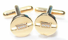 Men's Stylish Gold Filled Circle Cufflinks Set With Brilliant Round Lab Diamonds