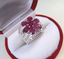 PINKISH-RED RUBY & WHITE SAPPHIRE RING 5.33 CTW #7.5  WHITE GOLD over 925 SILVER