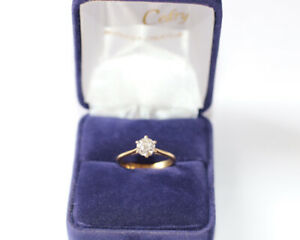 Solitaire or jaune diamant 0,75 centièmes