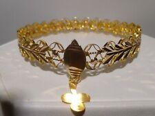 Handmade Irish Clover 12k Gold Filigree Bangle Bracelet Externally RARE Antique