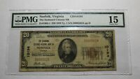 $20 1929 Norfolk Virginia VA National Currency Bank Note Bill Ch #10194 F15 PMG