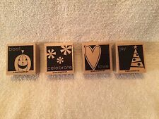 Stampin' Up Set of 4 Rubber Stamps, Love, Joy, Boo!, Celebrate, From 2005