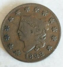Tough - 1822 Matron Head Large Cent - US Early Copper Coin . Desirable Variety