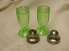 Vintage Green Glass Salt & Pepper Shakers Vaseline Glass Anchor Hocking