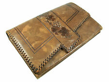 ARDEN FOREST - Vintage Tooled Leather Clutch - Whip-stitched Edge - Circa 1930's