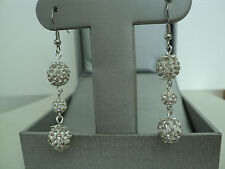 SHAMBALLA CRYSTAL BEADS FISH HOOK EARRINGS (WHITE COLOR) CC2