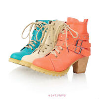 New Women's Winter Warm Mid Heels Ankle Lace Up Shoes Platform Boots YB265