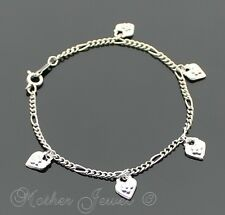 LOVELY GIFT IDEA SILVER RHODIUM PLATED HEART FLOWER CHARM 18CM BRACELET 7 INCHES