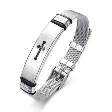 Mens Stainless Steel Bracelets Cross Adjustable Mesh Belt Design Sport Wristband